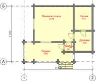 Проект двухэтажной бани из бревна 70 м2