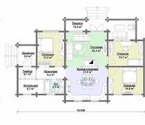 одноэтажный срубовой дом